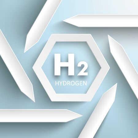 Infographic with white arrows and the text H2 Hydrogen on the gray background. vector file.
