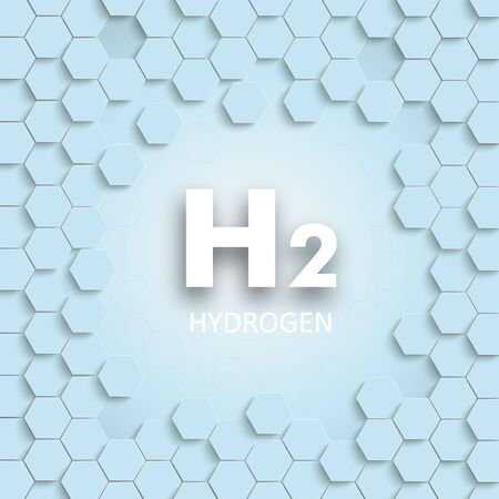 Cover with hexagon structure with the white text H2 Hydrogen in the centre,  in the centre. vector file.