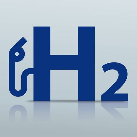 White H2 gas pump icon on the gray background. vector file.