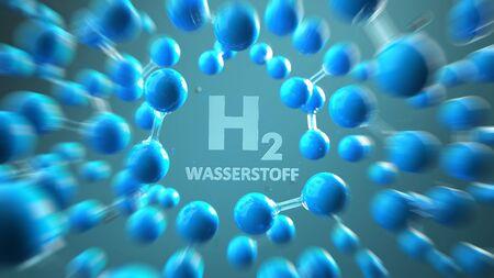 German text Wasserstoff, translate Hydrogen. 3d illustration.