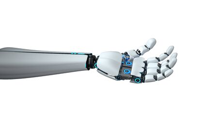 A white hand of the humanid robot on the white background. 3d illustration. 写真素材