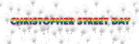 Christopher street day banner with rainbow colors and white balloons.  vector file.  イラスト・ベクター素材