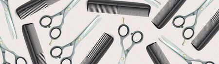 Banner with classic ornaments and hairdresser tools. vector file.