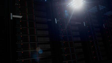 Server racks in a data center. 3d illustration. 写真素材