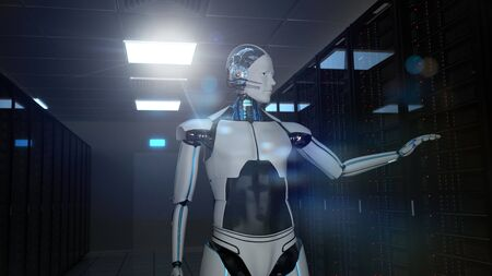 Humanoid robot in the server room. 3d illustration.