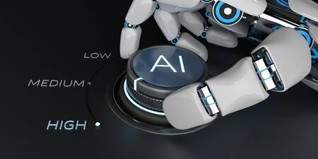 Robot turns the knob and switches the artificial intelligence to the highest level. 3d illustration. 写真素材