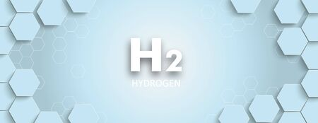 Hexagon structure with a H2 text on the blue background. Eps 10 vector file.  イラスト・ベクター素材