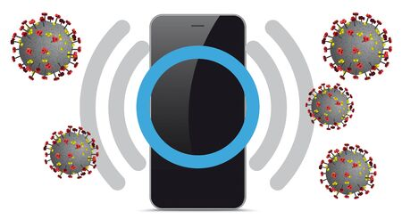 Smartphone with the symbol of the corona warning. vector file.