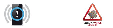 Smarphone corona warning app.  vector file.