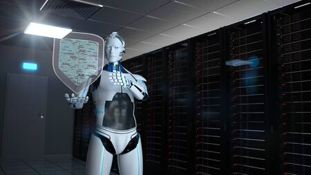 Humanoid robot with a protection shield in a server room. 3d illustration. 写真素材