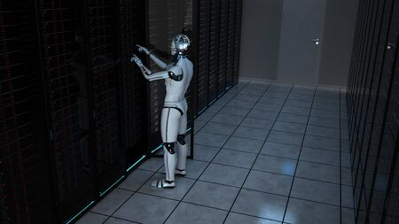 Humanoid robot carries out maintenance work in the server room. 写真素材
