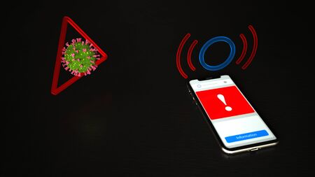 A smartphone indicates that a risk of infection. 3d illustration.