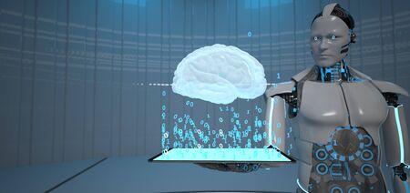 Humanoid robot with tablet pc and human brain. 3d illustration.