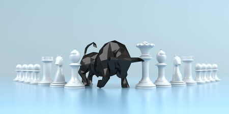 Successful investment strategy, the bull statue with chess pieces on the blue background. 3d illustration. 写真素材