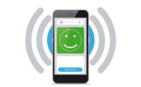 Smartphone app no infection risk of the corona virus. vector file.