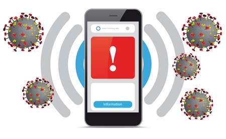 Smartphone app warns of the corona virus. vector file.