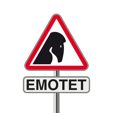 Emotet warning triangle on the white background. Eps 10 vector file.