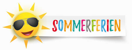 German text Sommerferien, translate Summer Holidays. vector file.