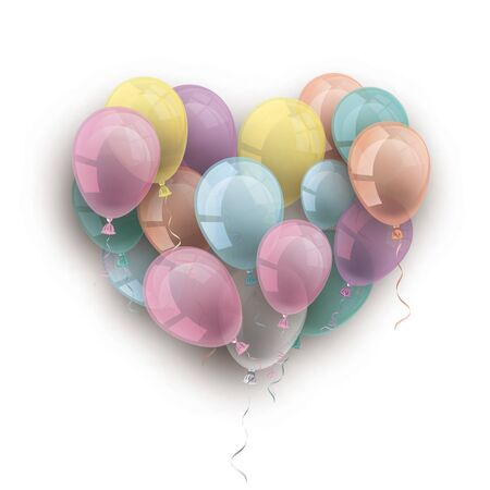Heart of the pastel colored baloons on the white. Eps 10 vector file.