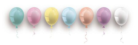Pastel colored and transparent balloons with shadows on the white background. Eps 10 vector file.