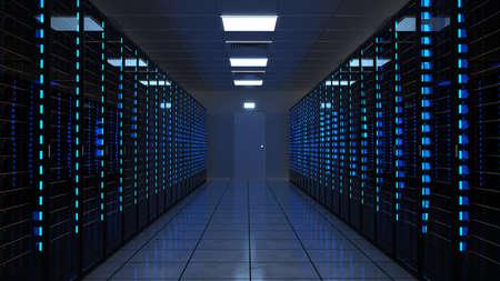 Server racks in a data center. 3d illustration. Фото со стока
