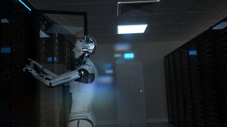 Humanoid robot carries out maintenance work in the server room. Фото со стока