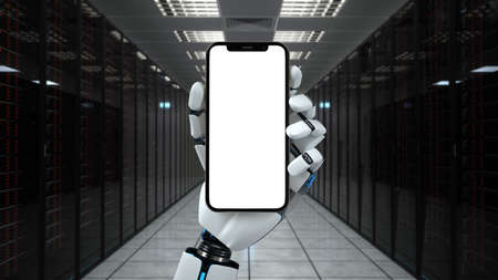 Robot hand with smartphone in the data center. 3d illustration. Фото со стока