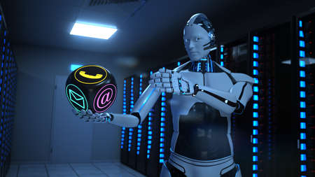 Humanoid robot with a contact cube in the server room. 3d illustration.