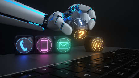 AI for the mobile support. 3d illustration.