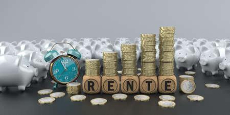 German text Rente, translate Annuity. 3d illustration. Banco de Imagens