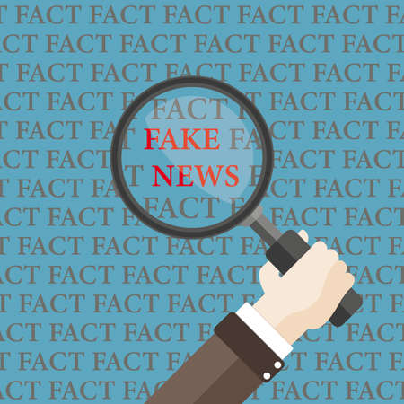Between the facts in search of fake news. Eps 10 vector file.