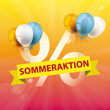 Germant text Sommeraktion, translate Summer Sale. Eps 10 vector file.