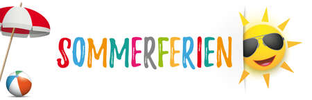 German text Sommerferien, translate Summer Holidays. Eps 10 vector file.
