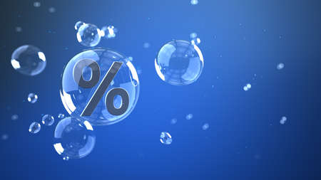 A percent in the air bubble on the blue background. 3d illustration.