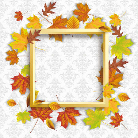 Autumn foliage  white frame on the wallpaper  ornaments.   vector file.