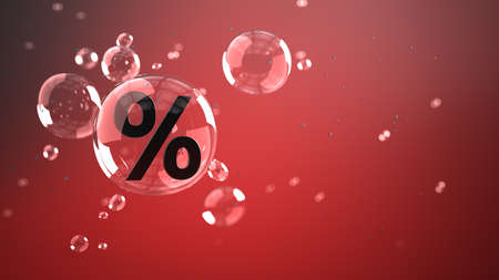 A percent in the air bubble on the red background. 3d illustration.