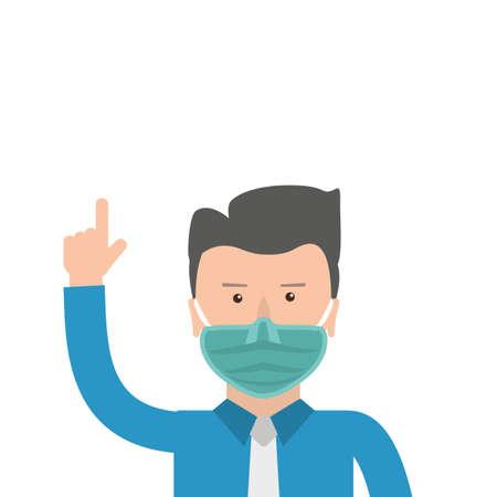 Businessman  a medicine mask.   vector file.
