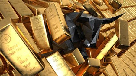 The bullish gold market. 3d illustration.
