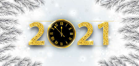 White header with frozen fir branches, clock and the text 2021. Eps 10 vector file.