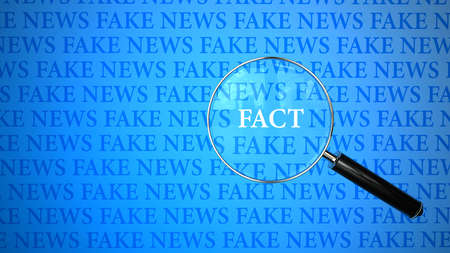 Between the fake news in search of facts. 3d illustration.