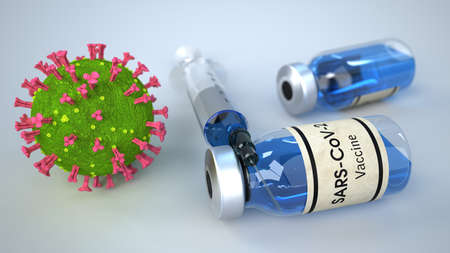 A syringe and bottles with a vaccine against the coronavirus. 3d illustration.