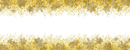 Banner with the golden particles and snowflakes on the white background. Eps 10 vector file. Stock Photo