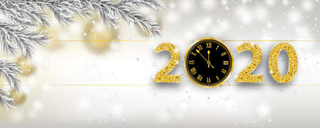 Christmas banner with frozen twigs, clock and numbers 2020. Eps 10 vector file.