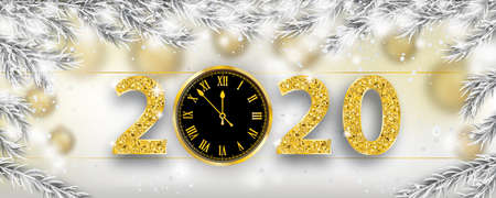 Christmas banner with frozen twigs, snowfall, clock and golden numbers 2020. Eps 10 vector file.