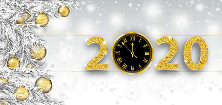 Christmas banner with a clock and numbers 2020. Eps 10 vector file.