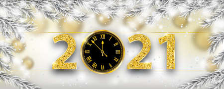 Christmas banner with frozen twigs, snowfall, clock and golden numbers 2021. Illustration