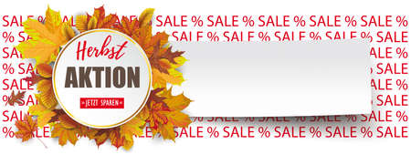 German text Herbstaktion, Jetzt Sparen, translate Autumn Sale, Buy Now.