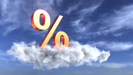 A percent sign on the cloud in the sky. 3d illustration.
