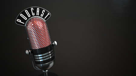 A microphone with the text podcast. 3d illustration. Stock Photo