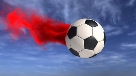 A football with a red smoke on in the sky. 3d illustrationn. Stock Photo